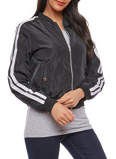 Varsity Stripe Sleeve Bomber Jacket,BLACK,large