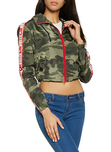 Queen Tape Camo Cropped Windbreaker,OLIVE,large