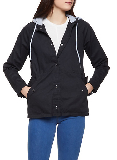 Fleece Hooded Anorak Jacket,BLACK,large