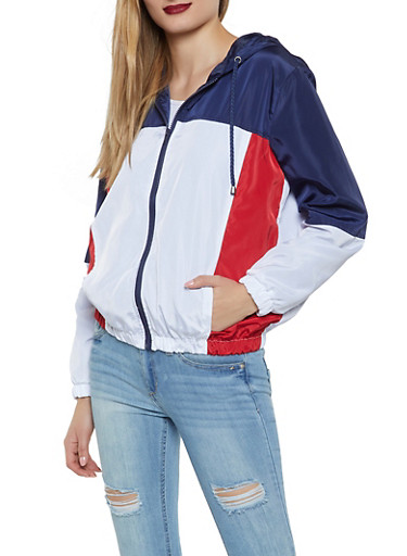 Color Block Hooded Zip Windbreaker,NAVY,large