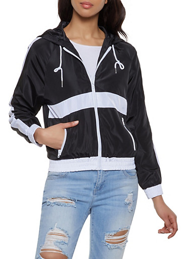 Contrast Stripe Windbreaker Jacket,BLACK/WHITE,large
