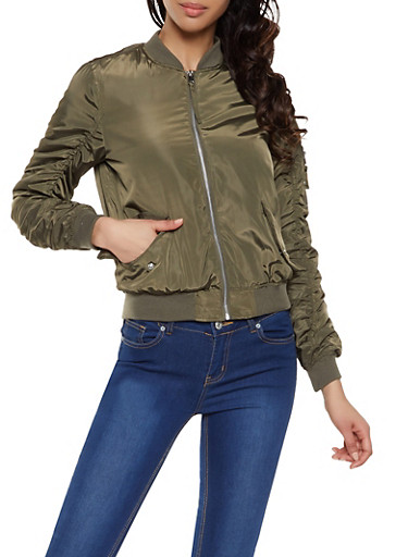 Ruched Sleeve Bomber Jacket,OLIVE,large