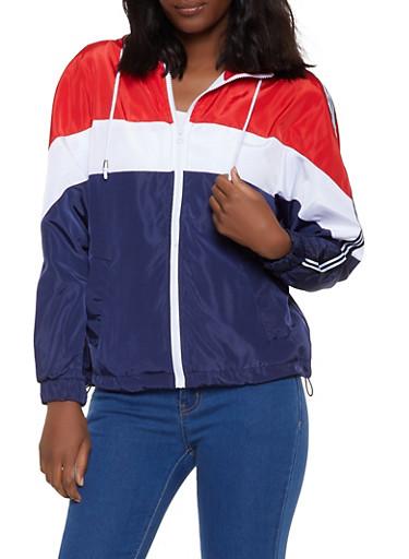 Color Block Hooded Zip Windbreaker Jacket,NAVY,large