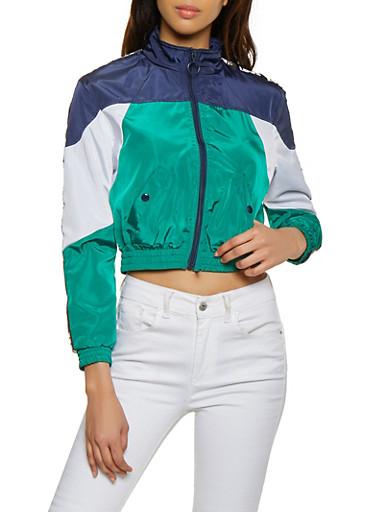 Love Tape Color Block Windbreaker Track Jacket,GREEN,large