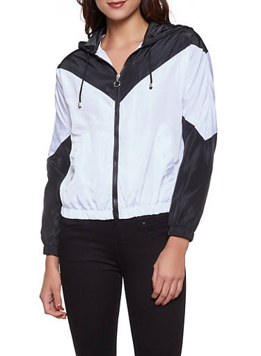 Two Tone Chevron Windbreaker,BLACK/WHITE,large