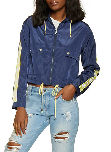 Love Tape Hooded Windbreaker Jacket,NAVY,large