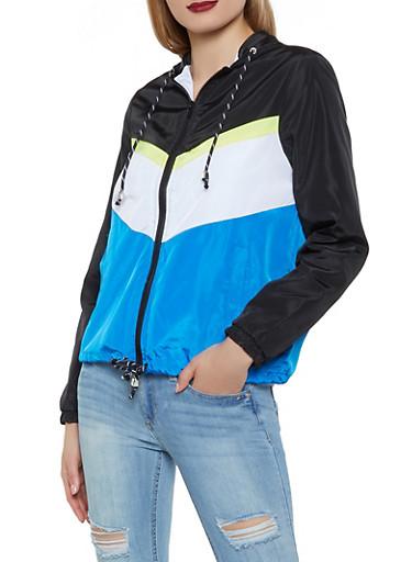 Color Blocked Windbreaker Jacket,RYL BLUE,large