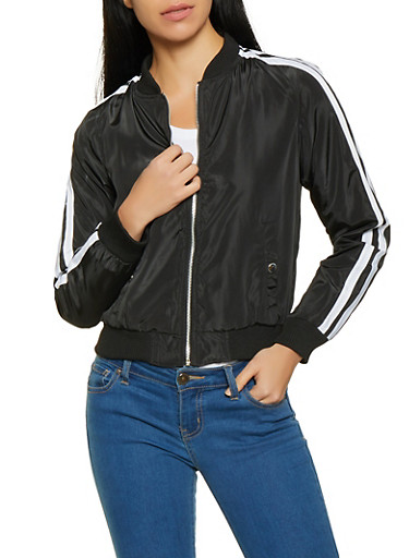 Varsity Stripe Bomber Jacket | 1086051067644,BLACK,large