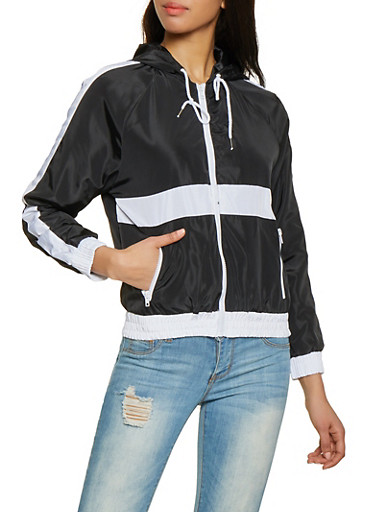 Color Block Windbreaker,BLACK,large