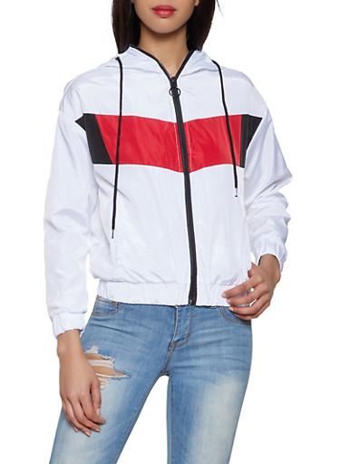 Color Block Windbreaker Jacket,WHITE,large