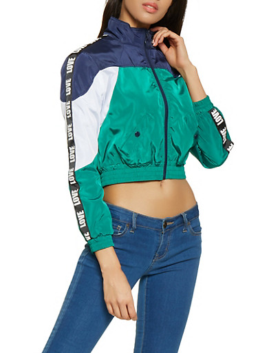 Color Block Love Graphic Cropped Windbreaker,GREEN,large