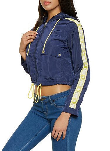 Love Tape Drawstring Hem Cropped Windbreaker,NAVY,large