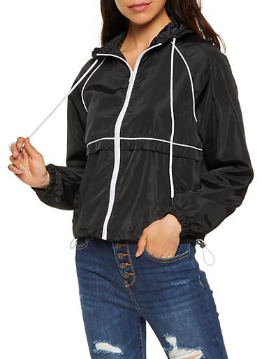 Contrast Trim Hooded Windbreaker,BLACK,large
