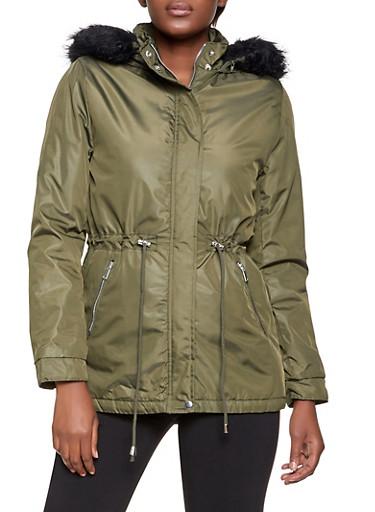 Nylon Drawstring Anorak Jacket,OLIVE,large