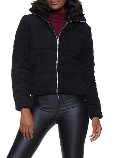 Solid Corduroy Puffer Jacket,BLACK,large