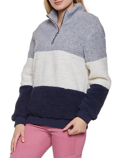 Half Zip Color Block Sherpa Sweatshirt,HEATHER,large