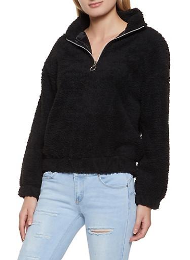 Half Zip Sherpa Sweatshirt,BLACK,large