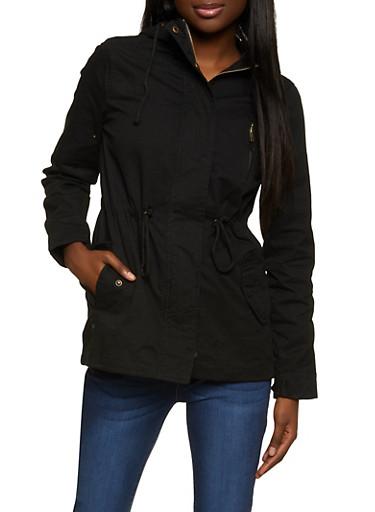 Hooded Twill Jacket,BLACK,large