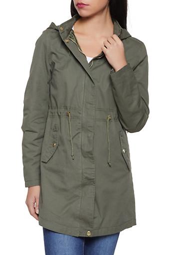 Long Hooded Anorak Jacket,OLIVE,large