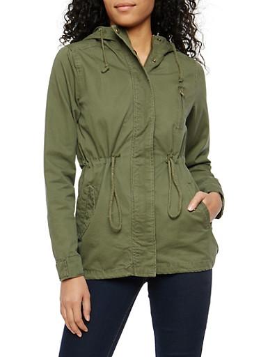 Hooded Zip Up Anorak Jacket,OLIVE,large