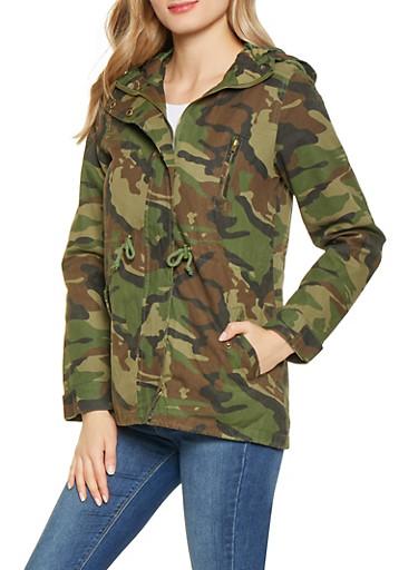 Hooded Camo Anorak Jacket,GREEN,large