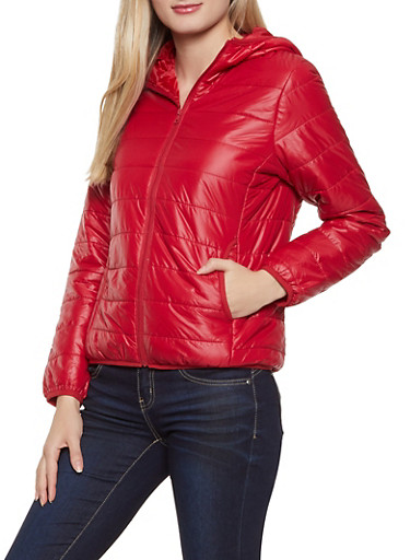 Quilted Packable Puffer Jacket,RED,large