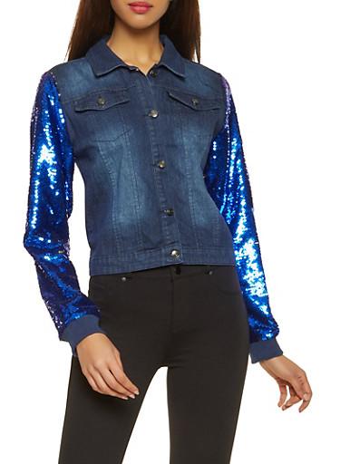 Sequin Sleeve Jean Jacket,BLUE,large