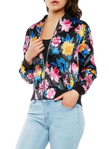Floral Satin Bomber Jacket,BLACK,large