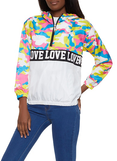 Camo Yoke Love Graphic Windbreaker,MULTI COLOR,large