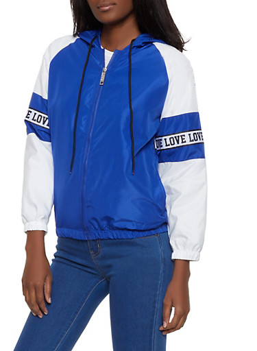 Color Block Graphic Tape Windbreaker,RYL BLUE,large