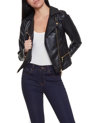 Zip Up Faux Leather Moto Jacket,BLACK,large