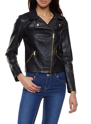 Quilted Front Faux Leather Jacket,BLACK,large