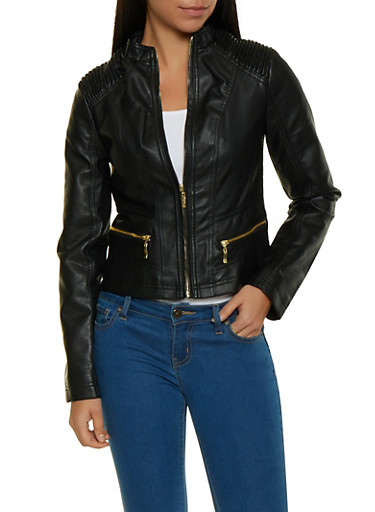 Ruched Shoulder Faux Leather Jacket,BLACK,large