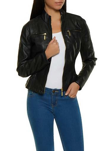Ruched Waist Faux Leather Moto Jacket,BLACK,large