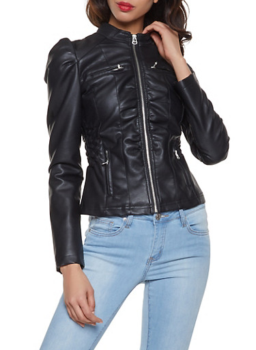 Faux Leather Ruched Waist Jacket,BLACK,large