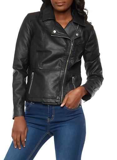 Asymmetrical Zip Faux Leather Jacket,BLACK,large