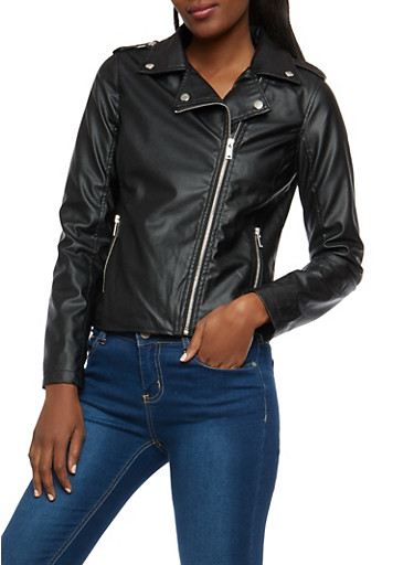 Black Faux Leather Moto Jacket,BLACK,large