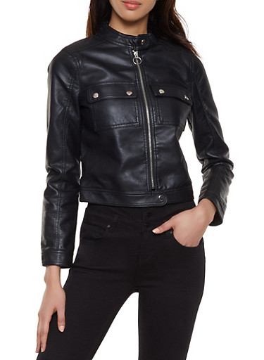Faux Leather Patch Pocket Jacket,BLACK,large