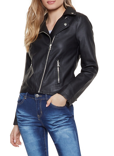 Faux Leather Zip Pocket Moto Jacket,BLACK,large