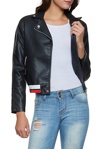 Asymmetrical Striped Trim Moto Jacket,BLACK,large