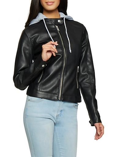 Hooded Faux Leather Jacket,BLACK,large