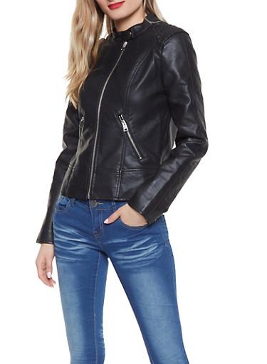 Ruched Shoulder Faux Leather Jacket | 1087051067061,BLACK,large