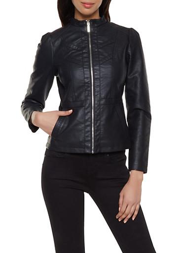 Faux Leather Decorative Stitch Jacket,BLACK,large