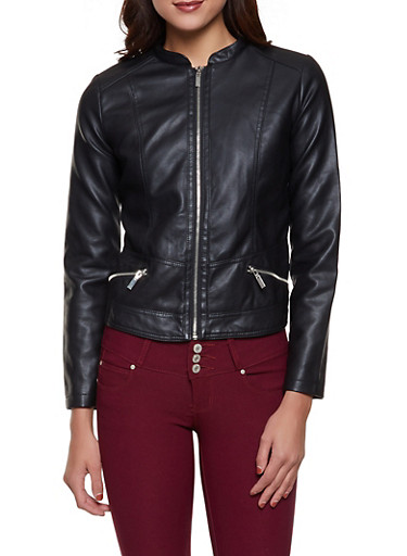 Faux Leather Zip Pocket Jacket,BLACK,large