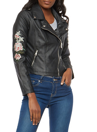 Floral Embroidered Faux Leather Moto Jacket at Rainbow Shops in Jacksonville, FL | Tuggl