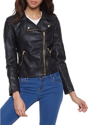 Asymmetrical Zip Faux Leather Moto Jacket | 1087051067900,BLACK,large