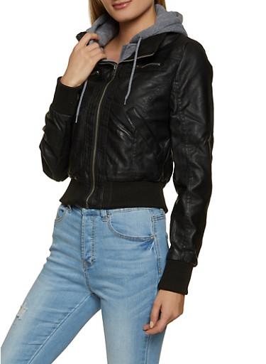 Fleece Hooded Faux Leather Jacket,BLACK,large