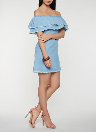 Tiered Off the Shoulder Chambray Dress,LIGHT WASH,large