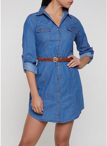 Belted Denim Shirt Dress,MEDIUM WASH,large