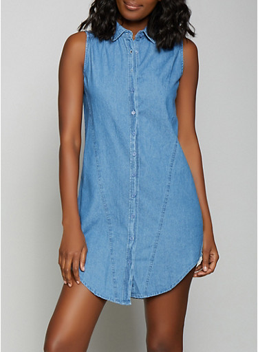 Sleeveless Denim Shirt Dress,MEDIUM WASH,large